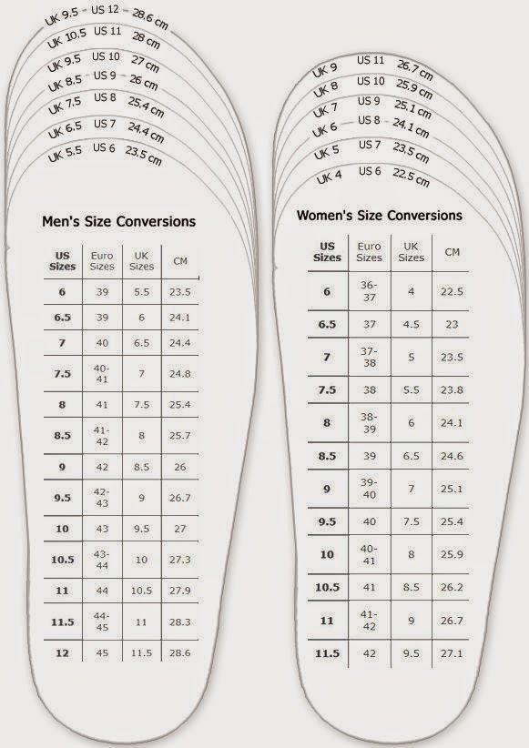 鞋子尺碼換算