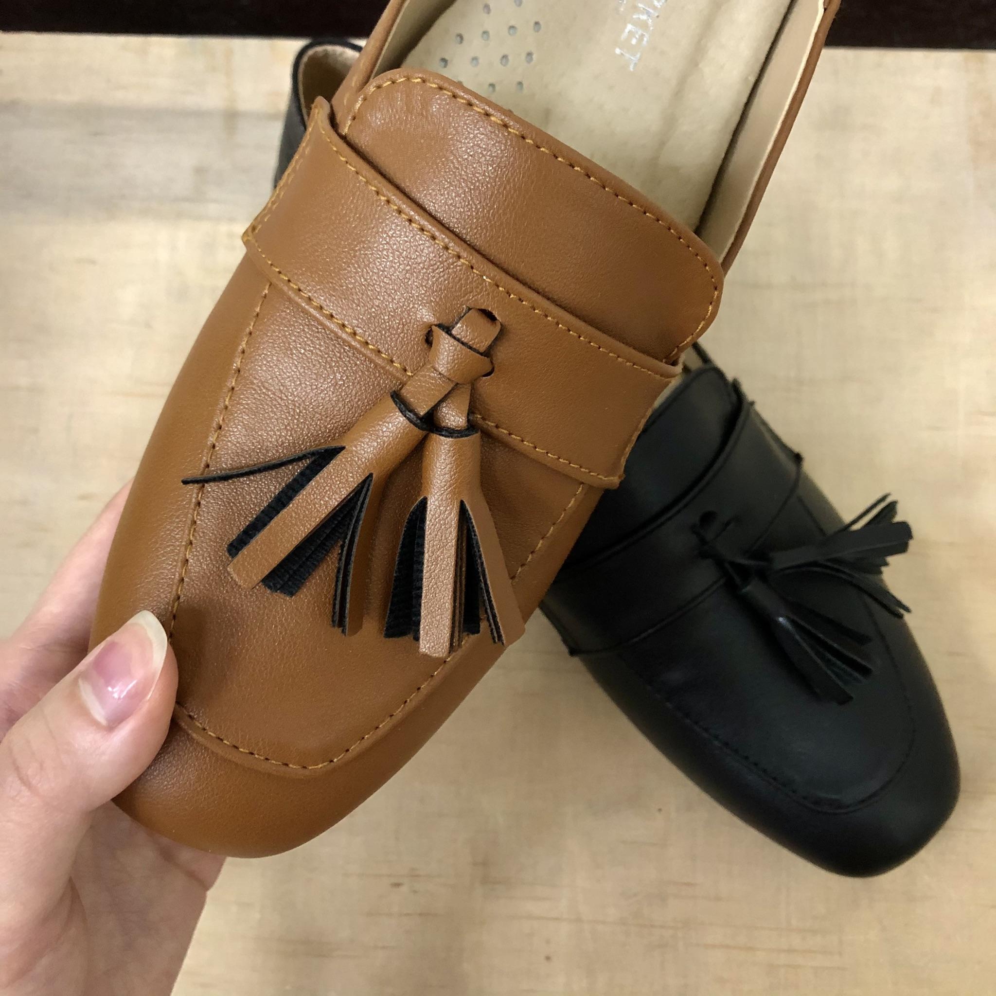 兩穿式皮質流蘇樂福鞋